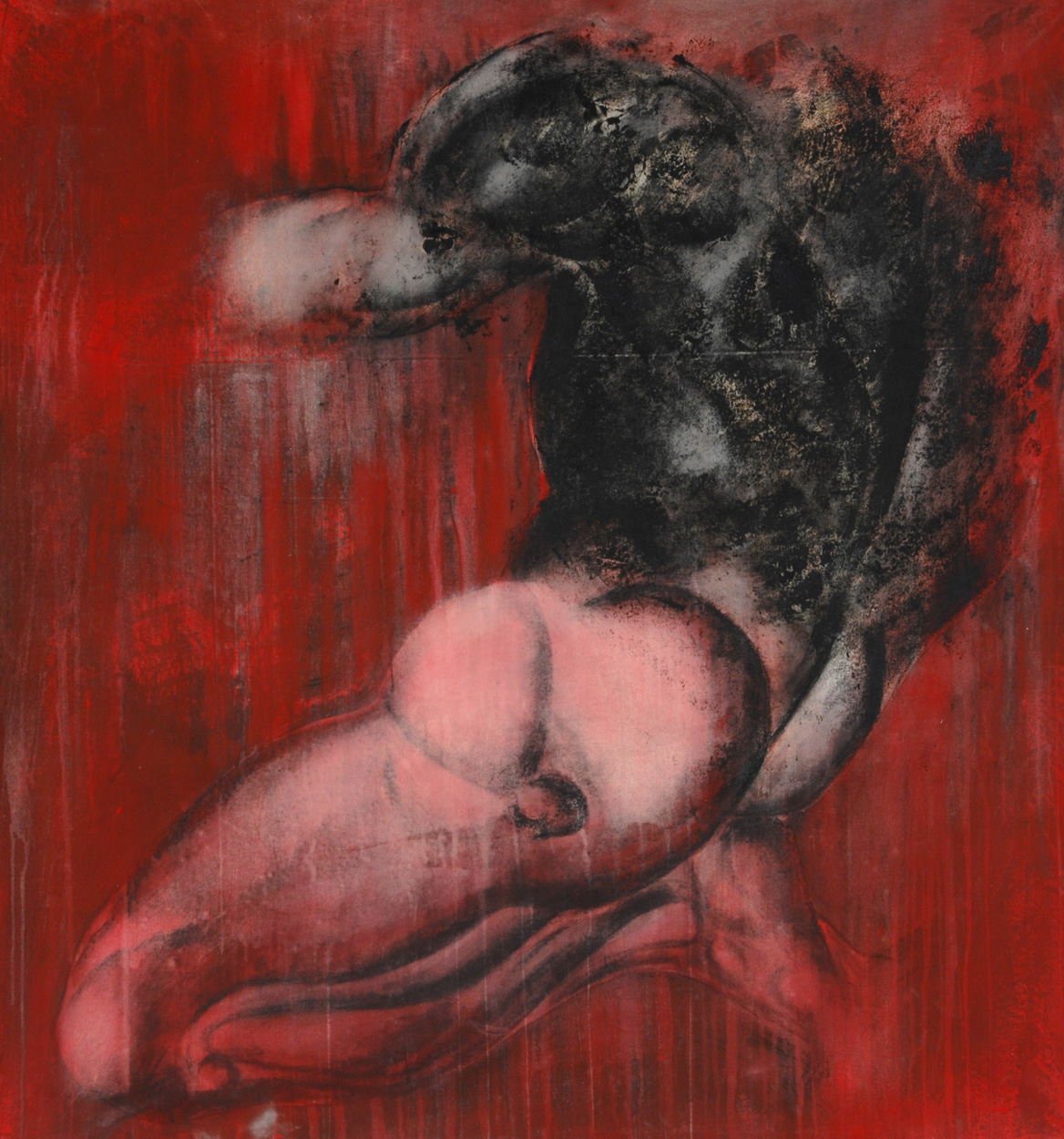 Man and red canvas - 150 x 150 cm - 1999