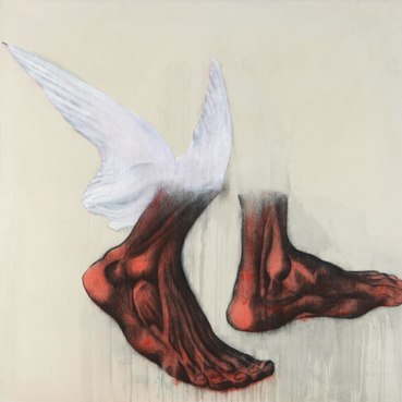 Red feet and wings - 150 x 150 cm