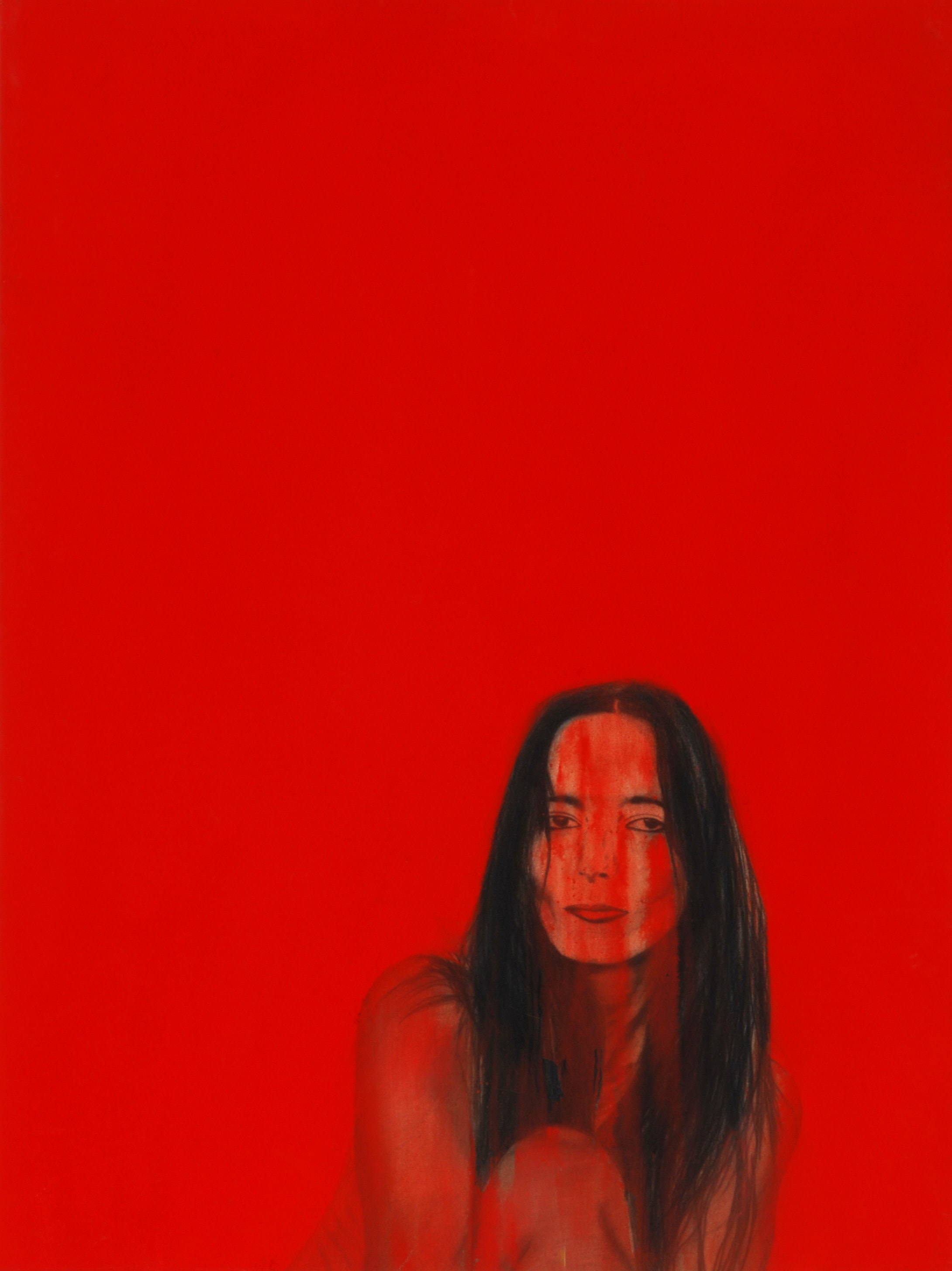 Self portrait in red - 100 x 130 cm - 2003